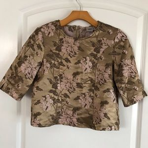 ASOS Jacquard Gold Floral Salon Crop Top Blouse